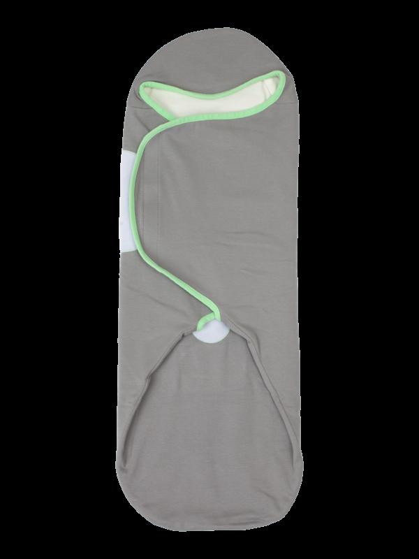 womby bag mit Kapuze in grau/grün (Pucksack)