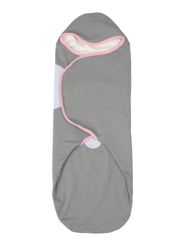 womby bag mit Kapuze in grau/rosa (Pucksack)