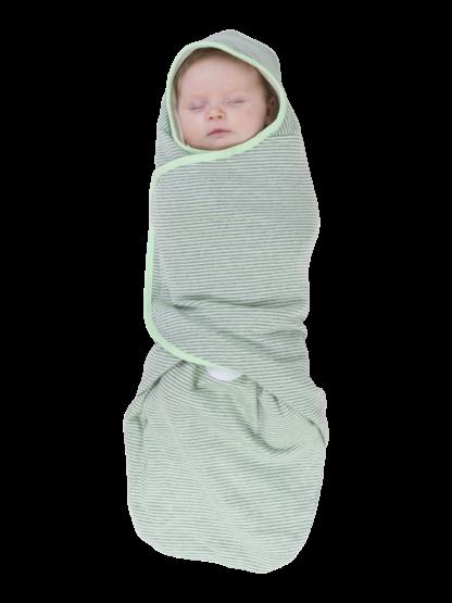 womby bag mit Kapuze in hellgrün/hellgrau (Pucksack)