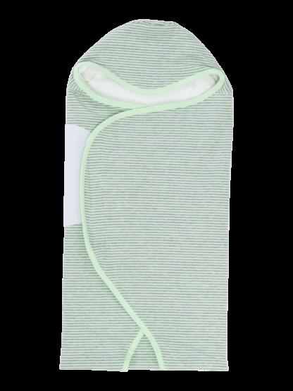 womby wrap mit Kapuze in hellgrün/hellgrau (Puckdecke)